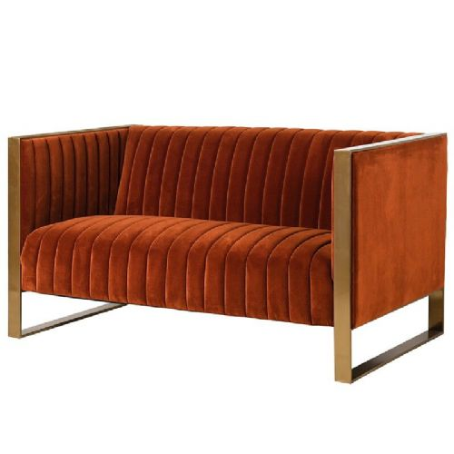 Naranja Orange  & Gold Ribbed 2 Seater Sofa
